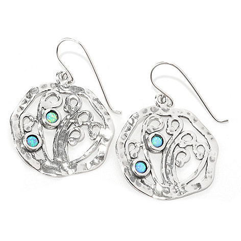 133-998 - Passage to Israel Sterling Silver 1.5'' Simulated Blue Opal Hammered Swirl Earrings