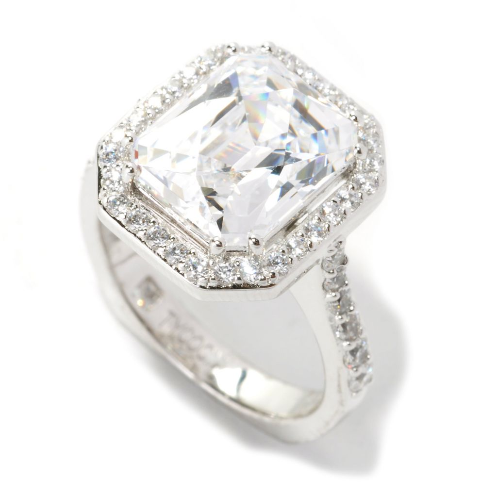 134-002 - TYCOON 5.65 DEW Platinum Embraced™ Royal TYCOON CUT Simulated Diamond Halo Ring