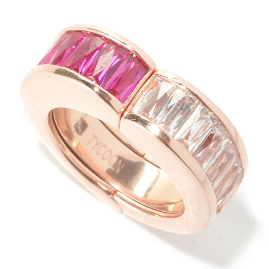 134-003 - TYCOON 18K Rose Gold Embraced™ 2.82 DEW Simulated Gemstone Movable Heart Ring w/ Band