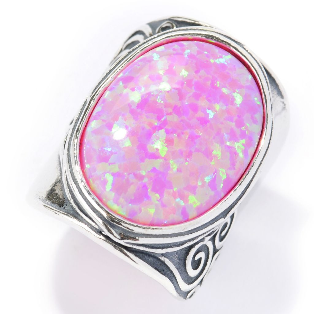 134-007 - Passage to Israel Sterling Silver 20 x 15mm Simulated Opal Textured Ring