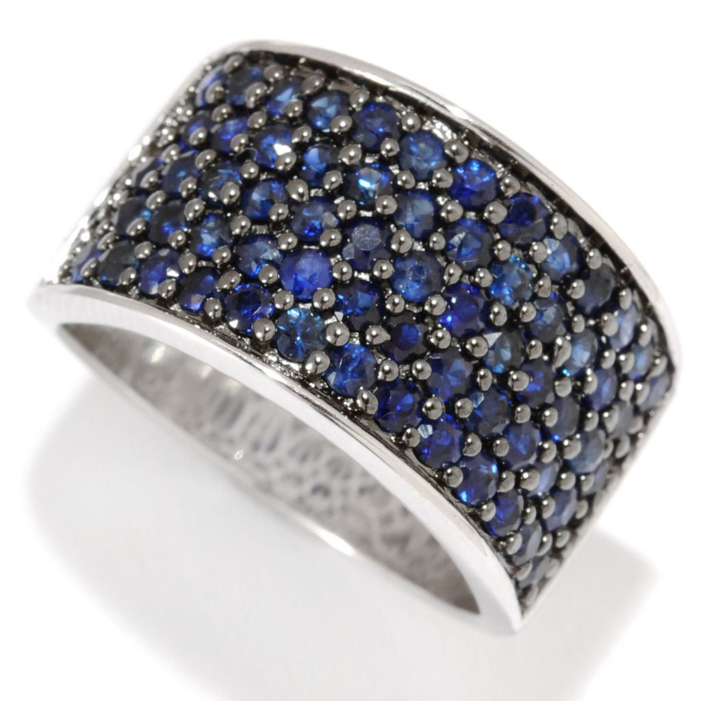 134-008 - Gem Insider Sterling Silver 1.76ctw Pave Blue Sapphire Wide Band Ring