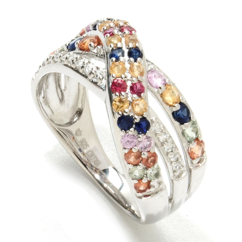 134-009 - Gem Insider Sterling Silver Fancy Sapphire & White Zircon Crossover Ring