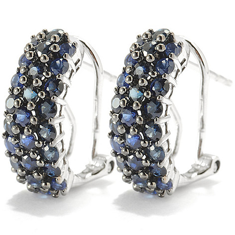 134-016 - Gem Insider Sterling Silver 1.74ctw Sapphire Drop Earrings w/ Omega Backs