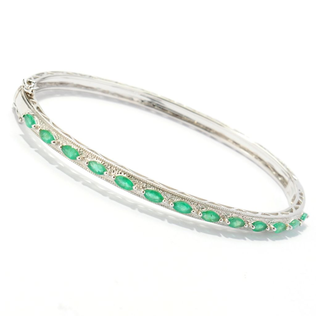 134-018 - NYC II 1.43ctw Marquise Shaped Emerald Hinged Bangle Bracelet