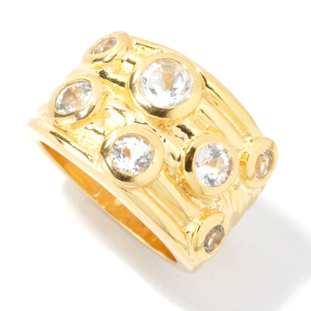 134-021 - Toscana Italiana Gold Embraced™ 1.93ctw White Topaz Wide Band Ring