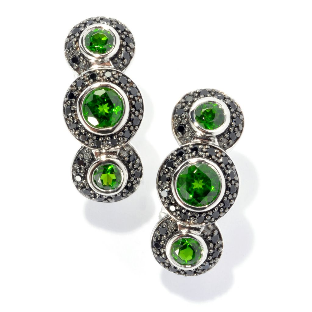 134-024 - Gem Insider Sterling Silver 2.37ctw Chrome Diopside & Spinel Drop Earrings w/ Omega Backs