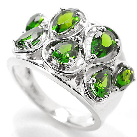134-025 - Gem Insider Sterling Silver 2.20ctw Pear Cut Chrome Diopside Wavy Wide Ring
