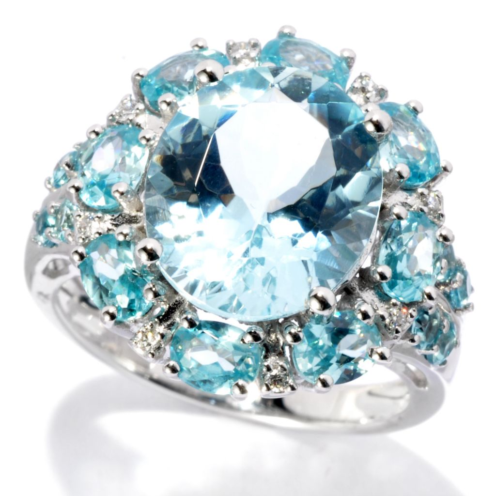 134-026 - Gem Treasures 14K White Gold 4.71ctw Blue Zircon, Diamond & Aquamarine Ring