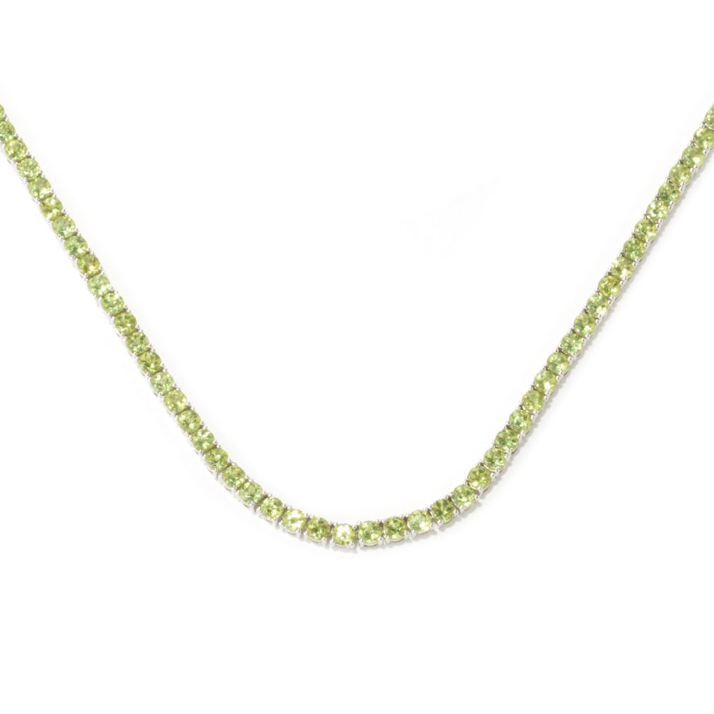 134-027 - Gem Insider Sterling Silver Round Peridot Tennis Necklace