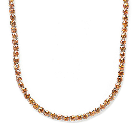 134-028 - Gem Treasures Sterling Silver Fancy Color Zircon Tennis Necklace