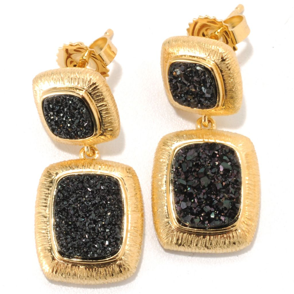 "134-030 - Michelle Albala 1"" Double Cushion Shaped Black Drusy Drop Earrings"