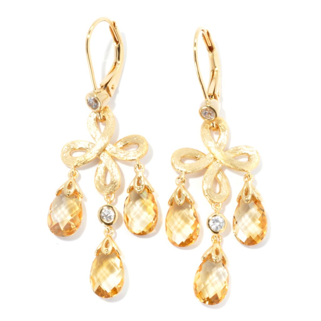 "134-035 - Michelle Albala 1.75"" Briolette Gemstone & White Zircon Infinity Drop Earrings"