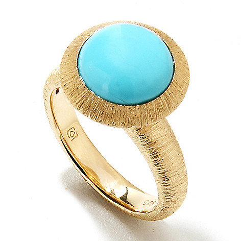 134-039 - Michelle Albala 10mm Round Sleeping Beauty Turquoise Brushed Ring
