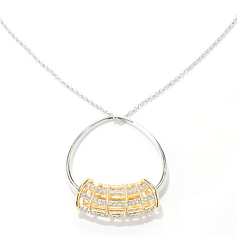 134-040 - Michelle Albala Two-tone White Zircon Cage Pendant w/ 20'' Chain