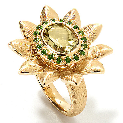 134-041 - Michelle Albala 2.17ctw Ouro Verde & Chrome Diopside Brushed Flower Ring