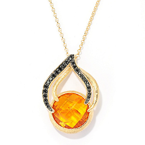 134-044 - Michelle Albala 18mm Checkerboard Cut Amber & Black Spinel Pendant w/ 20'' Chain