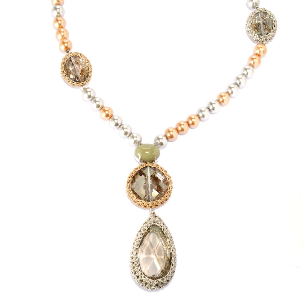 "134-048 - RUSH 24"" Jade, Crystal & Simulated Pearl Drop Necklace w/ 2"" Extender"