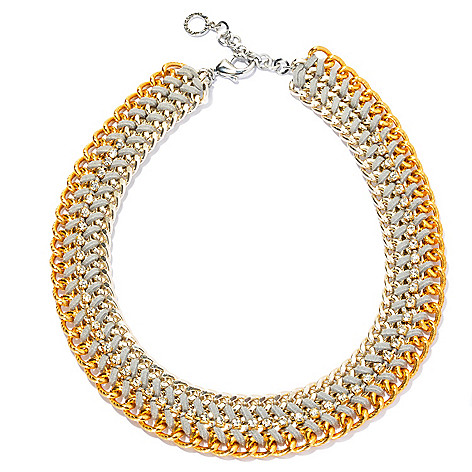 134-052 - RUSH 19'' Two-tone Simulated Diamond & Woven Leather Curb Chain Collar Necklace