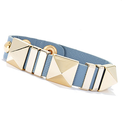 134-054 - RUSH 8'' Pyramid & Round Studded Double Snap Bracelet