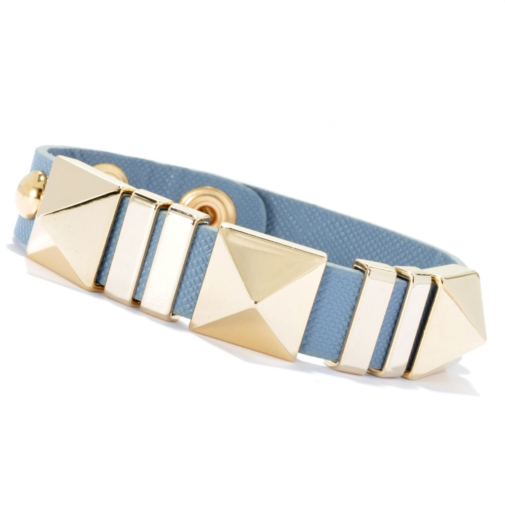 "134-054 - RUSH 8"" Pyramid & Round Studded Double Snap Bracelet"