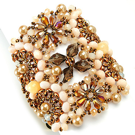 134-058 - RUSH 7.5'' Agate, Crystal & Simulated Diamond Beaded Flower Wide Bracelet