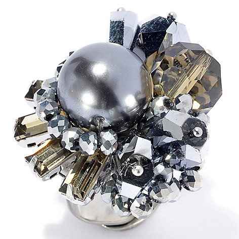 134-064 - RUSH Simulated Pearl & Glass Bead Abstract Cluster Ring