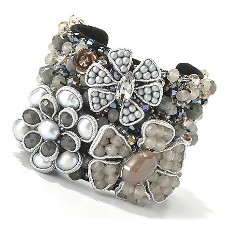 134-065 -  RUSH 7'' 9-10mm Freshwater Cultured Pearl Multi Flower Wide Cuff Bracelet