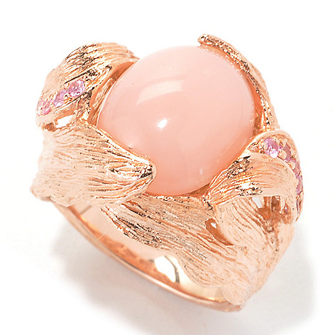 134-068 - Dallas Prince 13 x 11mm Oval Pink Opal & Sapphire Brushed Leaf Motif Ring