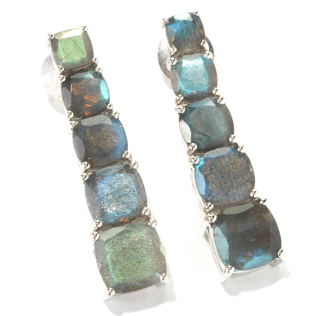 "134-069 - Dallas Prince Designs Sterling Silver 1.5"" Labradorite Five-Stone Drop Earrings"