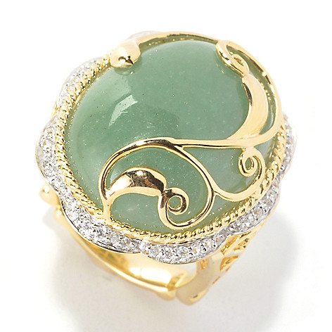 134-070 - Dallas Prince Designs 23 x 18mm Green Aventurine & White Zircon Scrollwork Overlay Ring