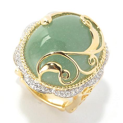 134-070 - Dallas Prince 23 x 18mm Green Aventurine & White Zircon Scrollwork Overlay Ring