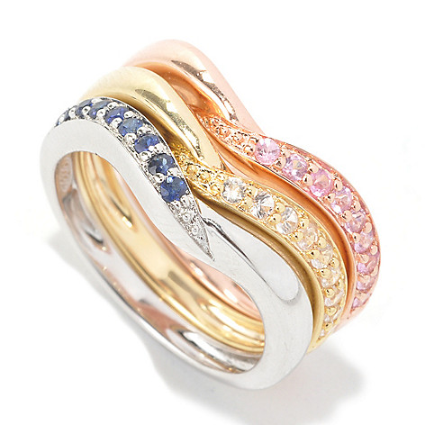 134-071 - Dallas Prince Designs Set of Three Blue, Pink & White Sapphire Stack Rings