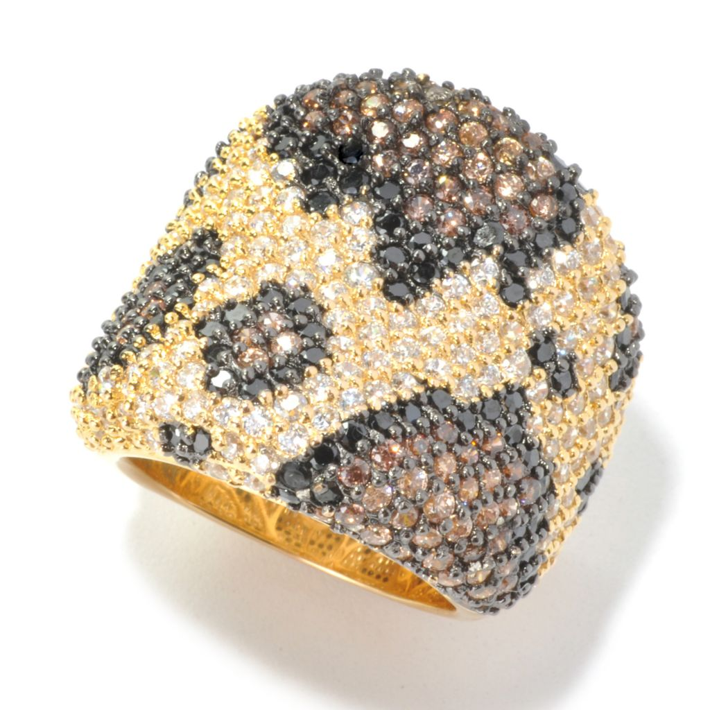 134-073 - Neda Behnam 4.28 DEW Pave Simulated Gemstone Python Print Wide Concave Band Ring