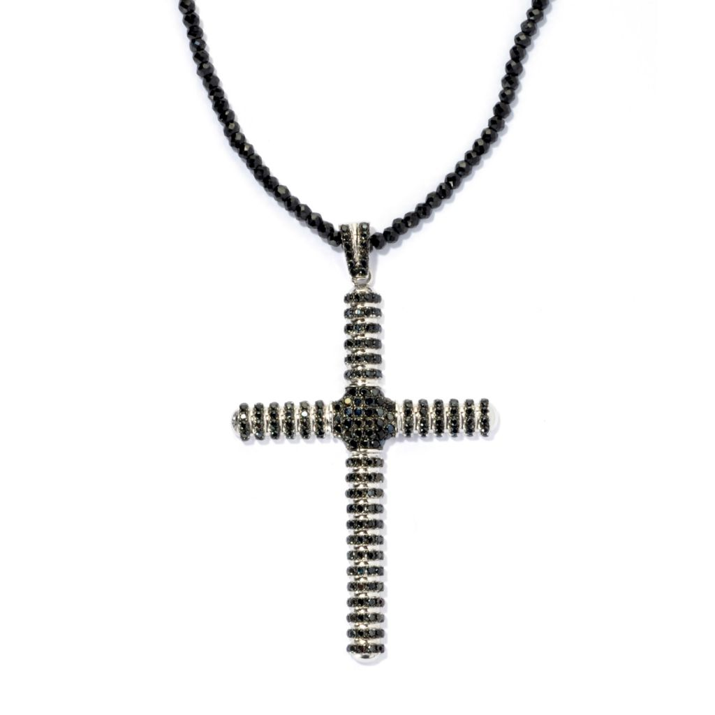 "134-082 - Gem Treasures Sterling Silver 3.29ctw Spinel Cross Pendant w/ 18"" Beaded Chain"