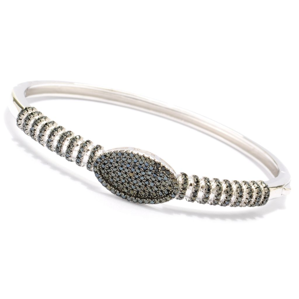 134-085 - Gem Treasures Sterling Silver 1.62ctw Spinel Oval & Striped Bangle Bracelet