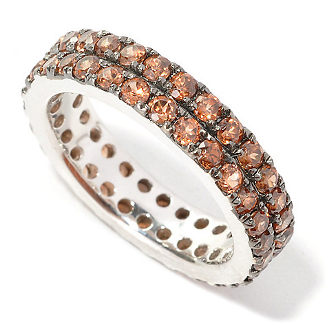 134-095 - Gem Treasures Sterling Silver 2.90ctw Mocha Zircon Two-Row Eternity Band Ring