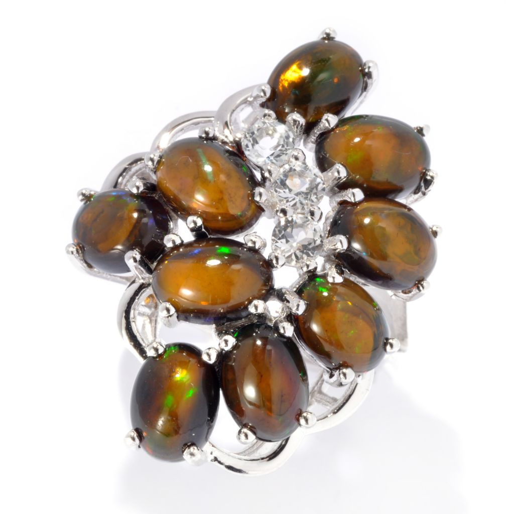 134-097 - Gem Treasures Sterling Silver Ethiopian Opal & White Topaz Cluster Ring