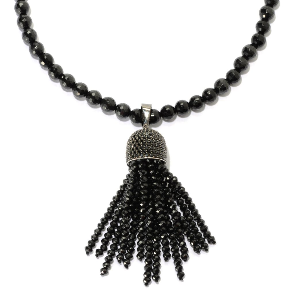 "134-099 - Gem Treasures Sterling Silver 434.76ctw Spinel Tassel Enhancer w/ 32"" Beaded Strand"