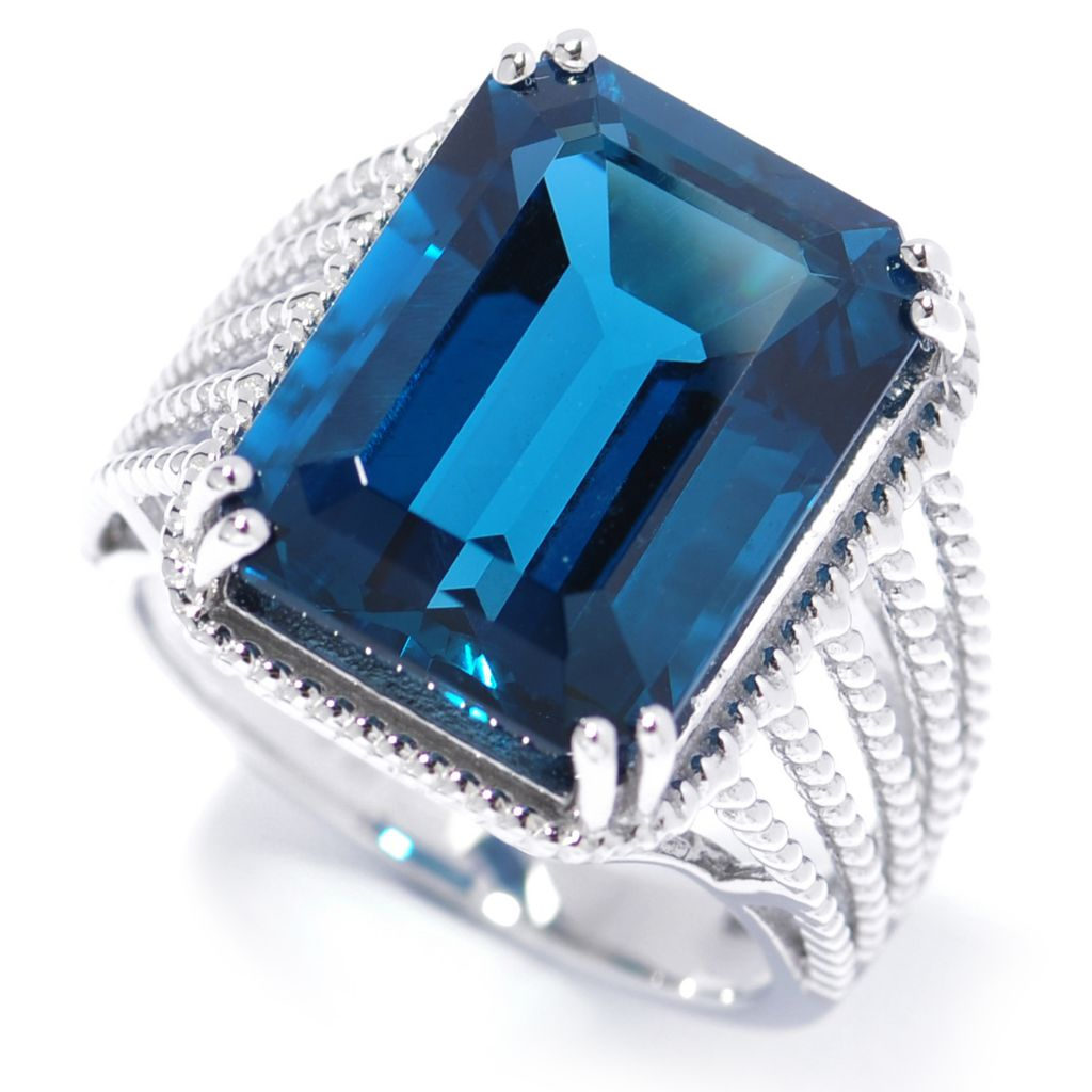 134-103 - Gem Insider Sterling Silver 13.00ctw Step Cut London Blue Topaz Split Shank Ring