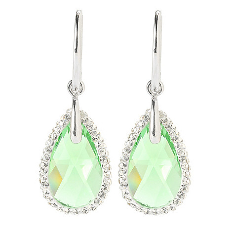 134-108 - Adaire™ 1.25'' Sterling Silver Teardrop Earrings Made w/ Swarovski® Elements