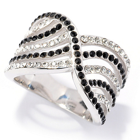 134-109 - Adaire™ Sterling Silver Crossover Ring Made w/ Swarovski® Elements