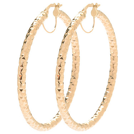 134-112 - Italian Designs with Stefano 14K Gold 1.75'' Diamond Cut Hoop Earrings