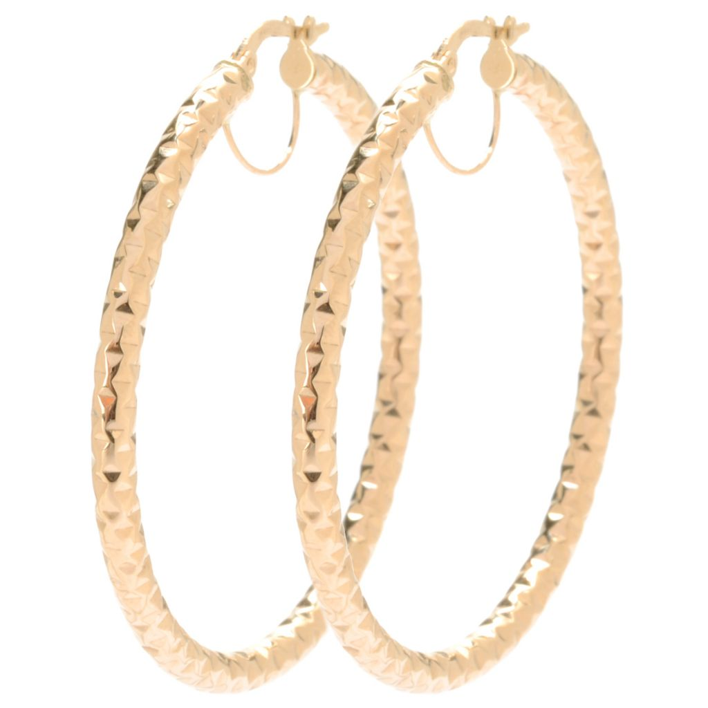 "134-112 - Italian Designs with Stefano 14K Gold 1.75"" Diamond Cut Hoop Earrings"