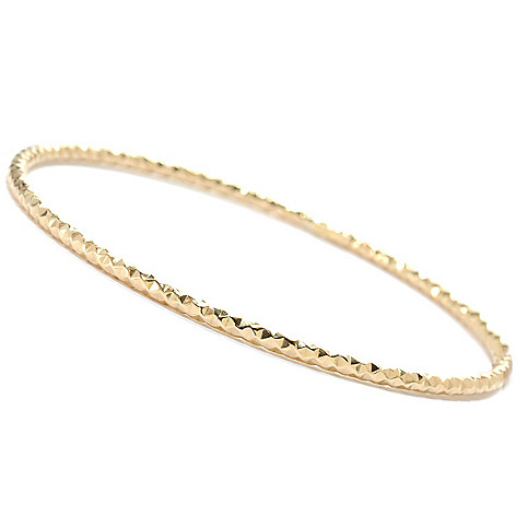 134-113 - Italian Designs with Stefano 14K Gold Textured Bangle Bracelet