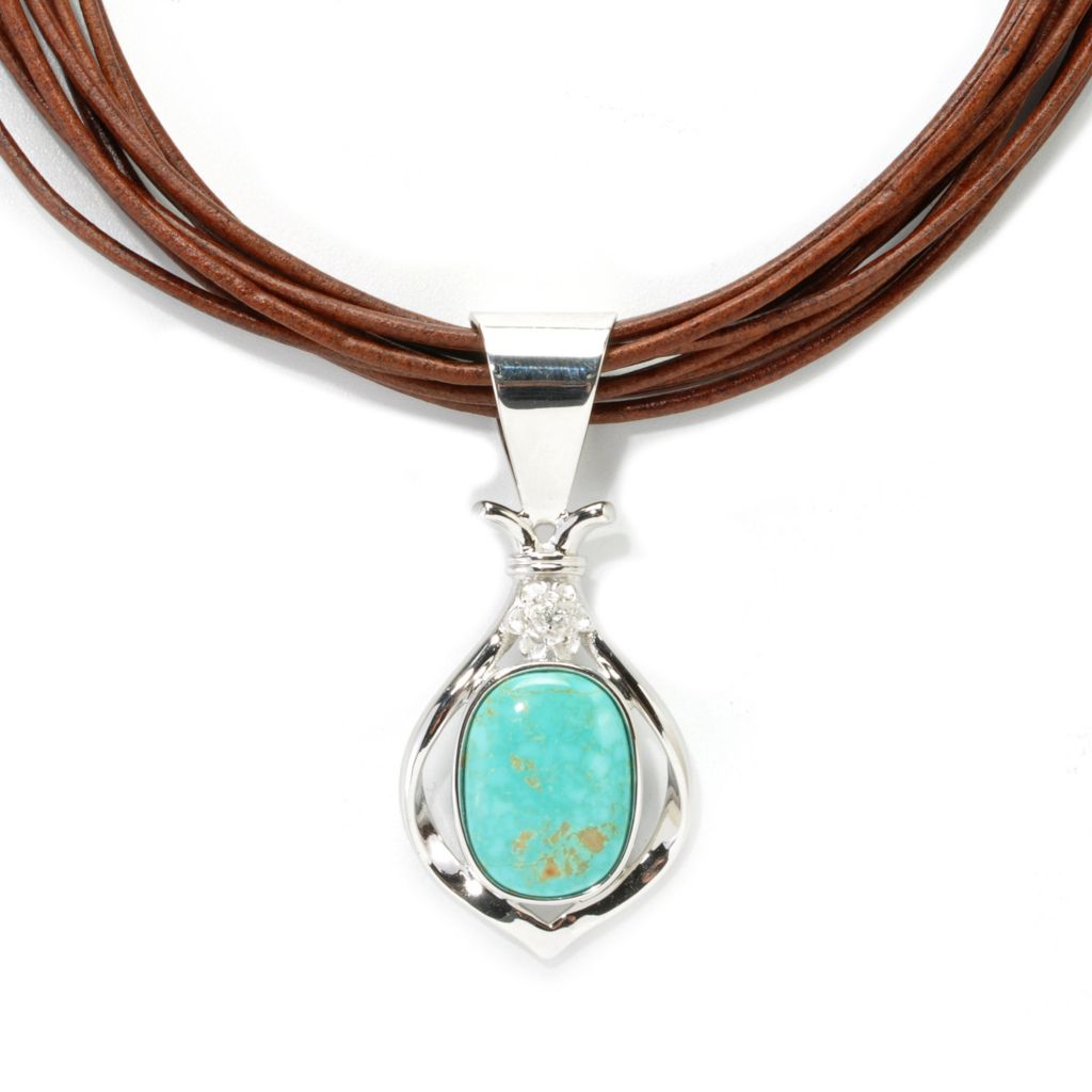 "134-114 - Gem Insider Sterling Silver #8 Turquoise & Quartz Pendant w/ 18"" Leather Cord"