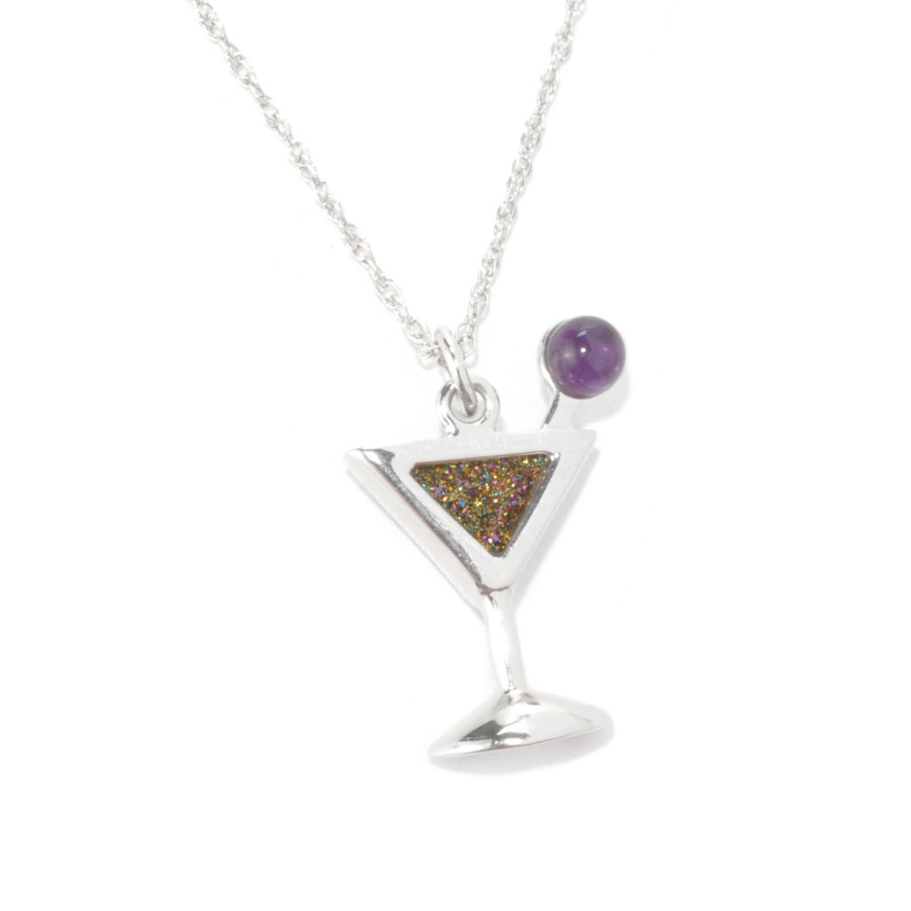 134-115 - Gem Insider Sterling Silver Multi Color Drusy & Amethyst Martini Pendant w/ Chain