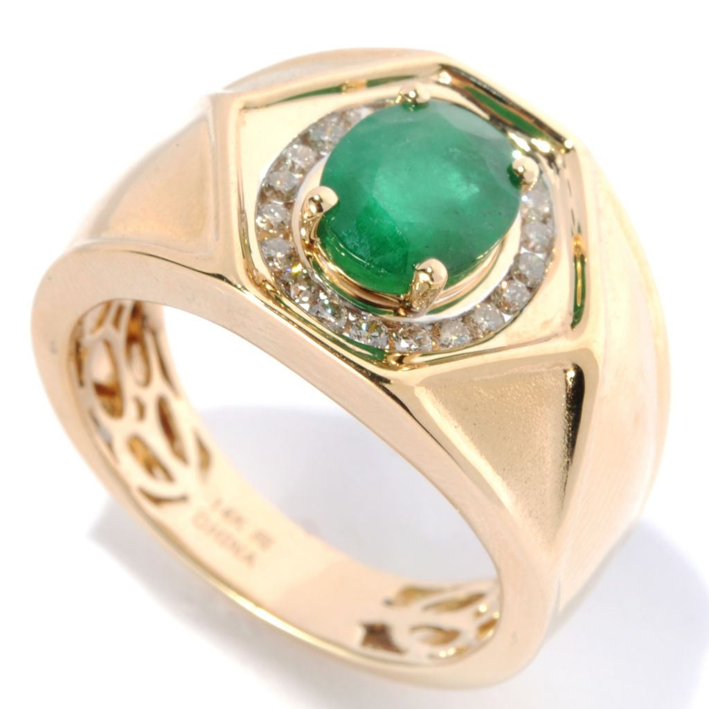 134-127 - Gem Treasures Men's 14K Gold 2.02ctw Emerald & Diamond Halo Hexagon Ring