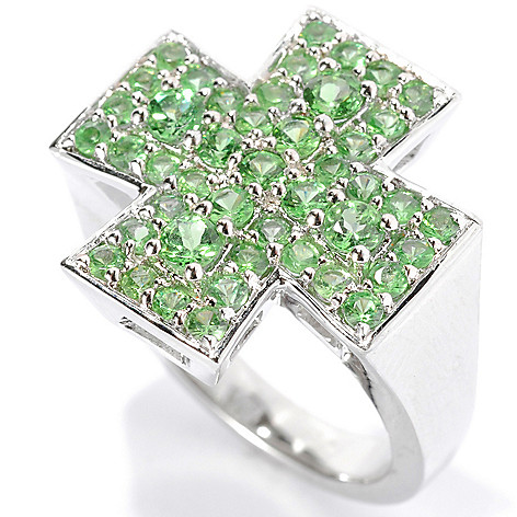 134-131 - Gem Treasures® Men's Sterling Silver 2.49ctw Tsavorite Cross Ring