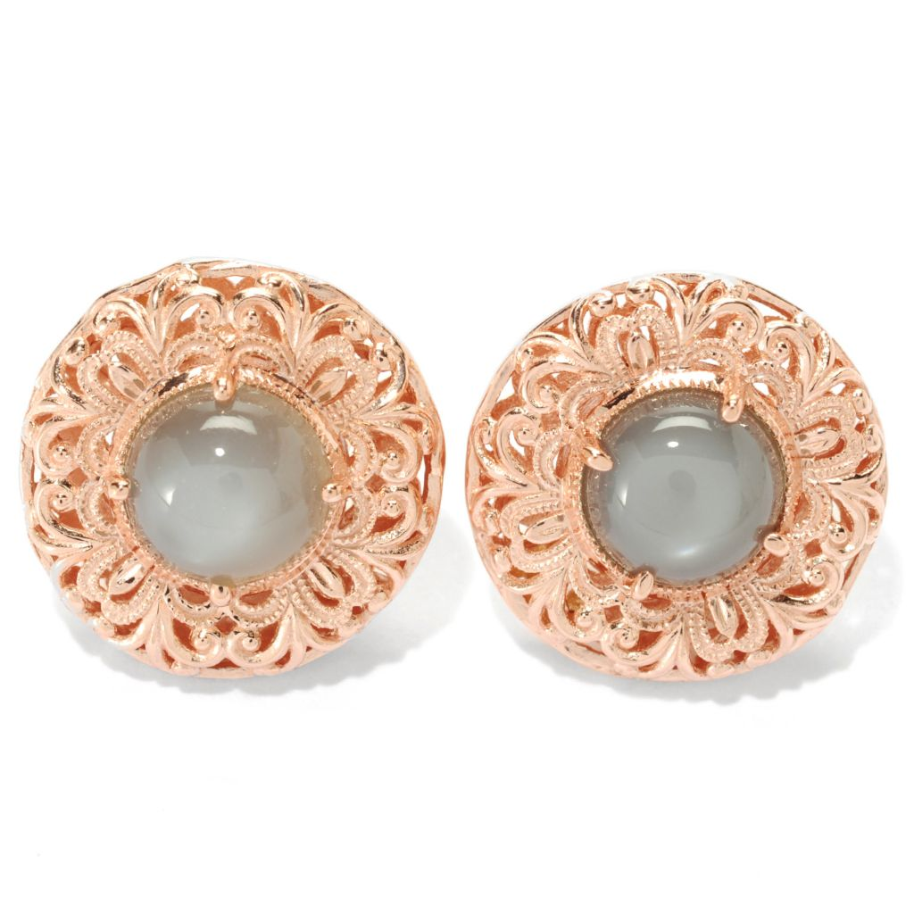 134-140 - Dallas Prince Designs 8mm Round Moonstone Filigree Button Earrings