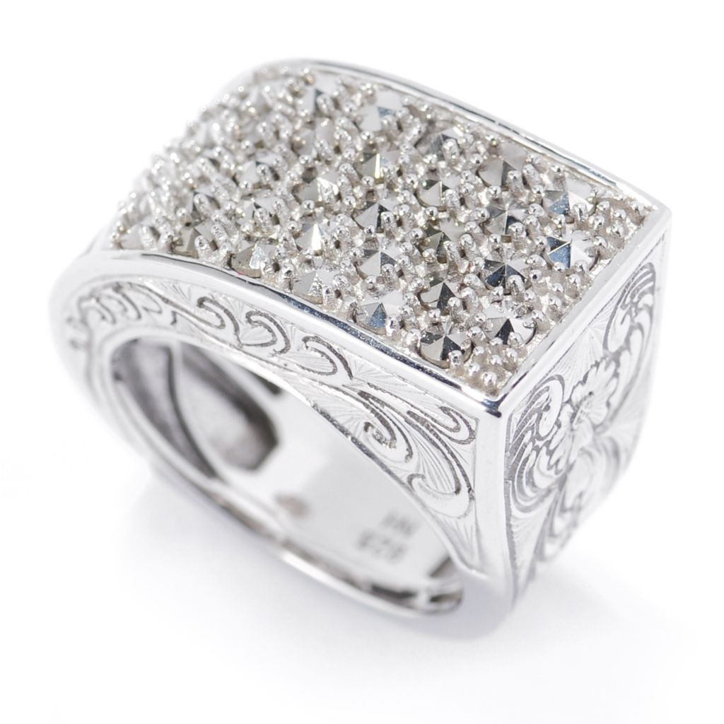 134-141 - Dallas Prince Sterling Silver Tapered Ring Made w/ Swarovski® Marcasite